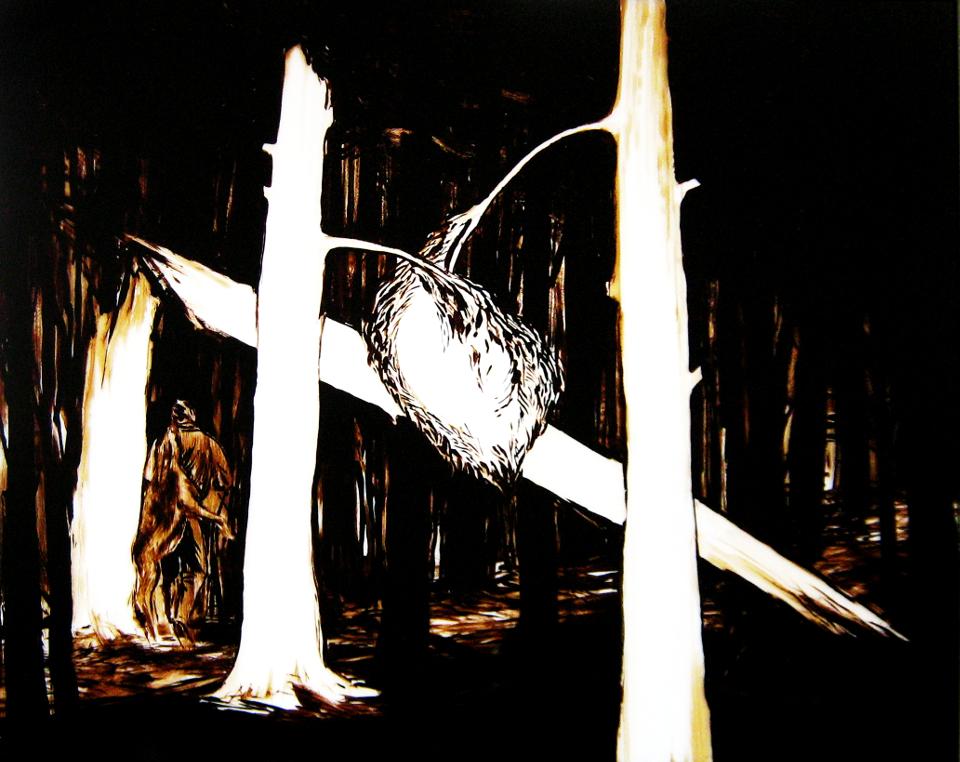NEIGUNG-2011-Teer-hinter-Glas-165x200-cm