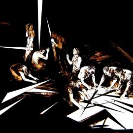 SCHERBEN I 2010 Teer hinter Glas 165 x 200cm